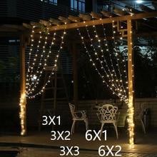 3x2/3x3/6x3 м Светодиодная сосулька, светодиодная занавеска, сказочный светильник, сказочный светильник, 300 светодиодный Рождественский светильник для свадьбы, патио, окна, вечерние, Декор