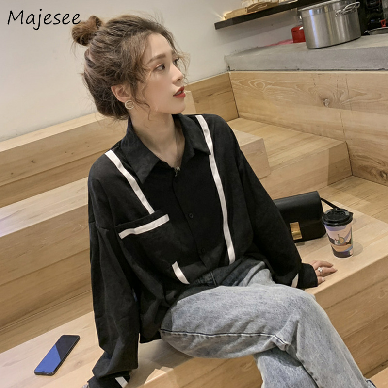 Women Shirt Plus Size Clothes Solid Black Long Sleeve Top Womens Tops and Blouses Casual Loose Ladies Harajuku Korean Fashion