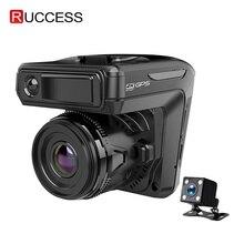 ใหม่ 3 ใน 1 รถ DVR Dash CAM GPS 1296P กล้อง Dual Lens Video Recorder Dashcam Auto Registrator เครื่องตรวจจับเรดาร์รัสเซีย Voice