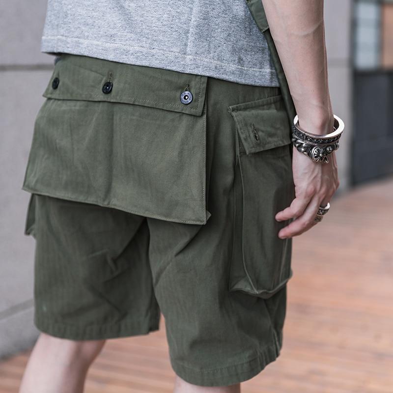 Bronson US Marine Corps P-44 Shorts Vintage Men Military Herringbone Monkey Pants