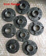 """10 adet 1/2 """"3/4"""" siyah dekoratif dövülebilir demir zemin/duvar flanşı işlenebilir dökme demir boru bağlantı parçaları BSP dişli delik"""