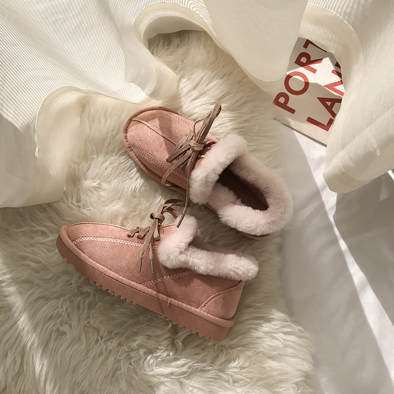 2019 New Arrival Winter Boot Pink Solid Color Fashion Casual Fur Warm Comfortable High Quality Fashion Women Winter Shoes 44