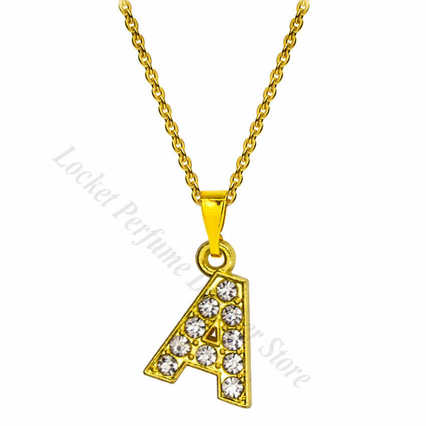 1pc 15mm golden color Rhinestone hang letters A-Z pendant with melon clasp with necklace women Jewelry gift fit for pet collar