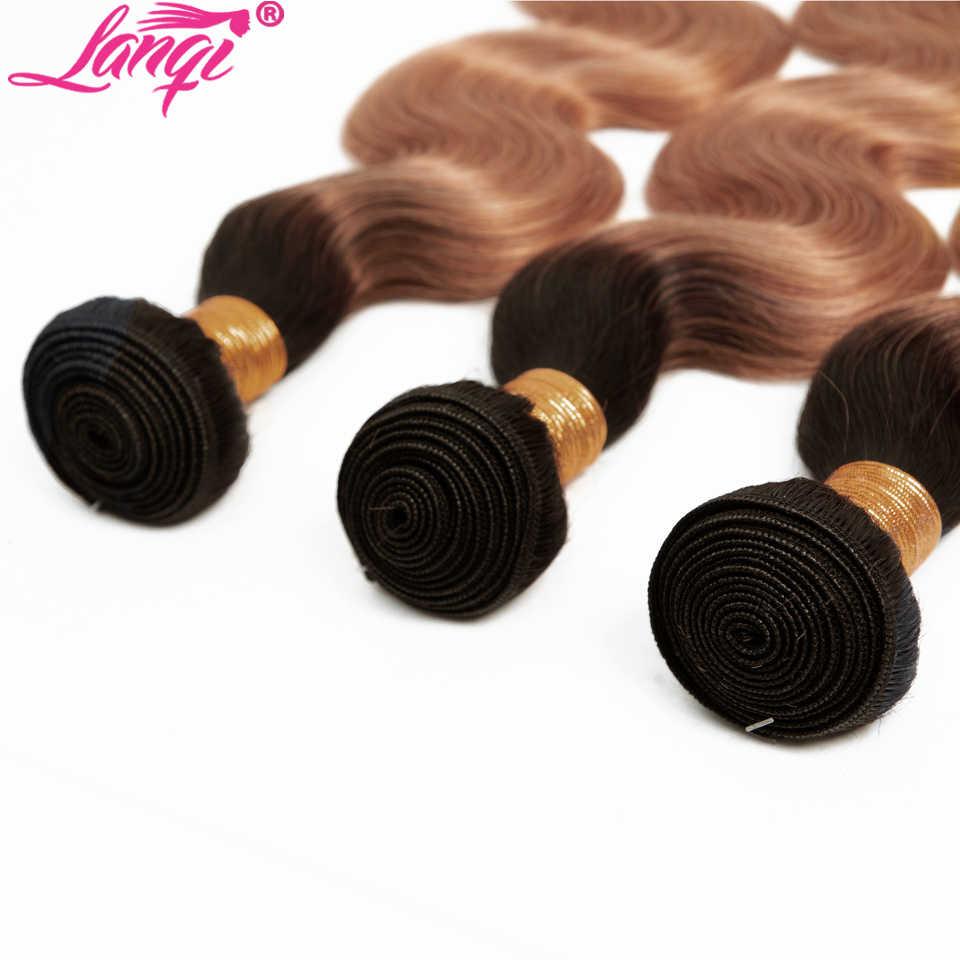 Бразильские объемные волнистые пучки с закрытием 1B/30 светлые пучки с закрытием не Реми человеческие пучки волос плетение пучки волос от светлого до темного цвета с закрытием
