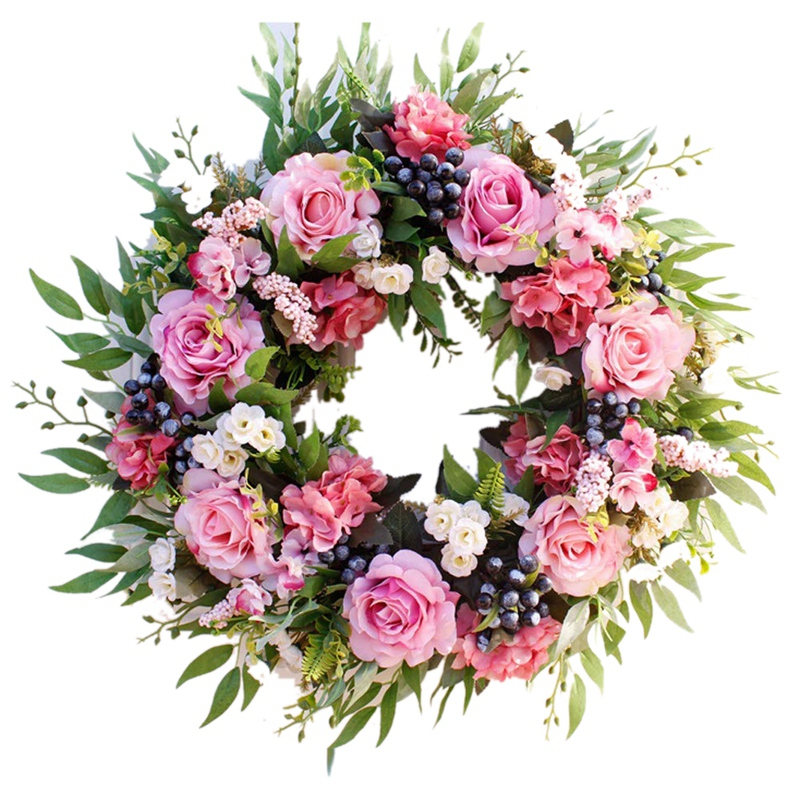 55cm Rose Wreath, Large Rustic Farmhouse Decorative Artificial Flower Wreath, Faux Floral Wreath For Front Door Window Wedding O