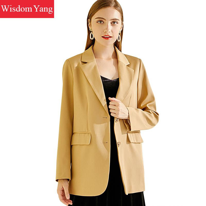 Elegant Suit Jacket Womens Formal Korean Coats Long Sleeve Female Business Khaki Coats Jackets Office Ladies Outerwear Overcoat