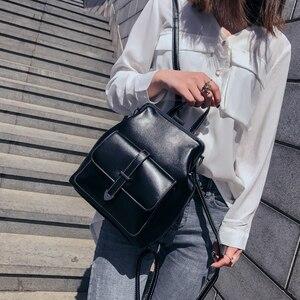 Image 2 - LEFTSIDE marque 2018 rétro moraillon sac à dos sacs en cuir PU sac à dos femmes sacs décole pour adolescents filles de luxe petits sacs à dos