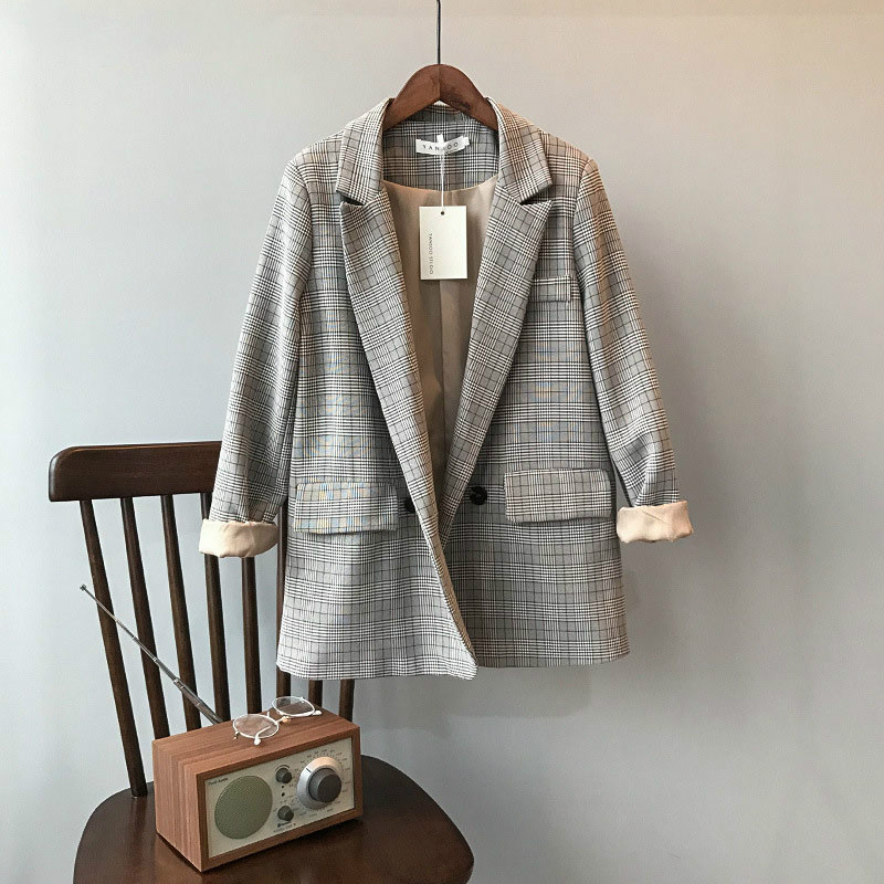 Spring Autumn Women Vintage Blazer Korean Slim Restore Plaid Loose Suit Harajuku Elegant Office Ladies Blazer Outwears
