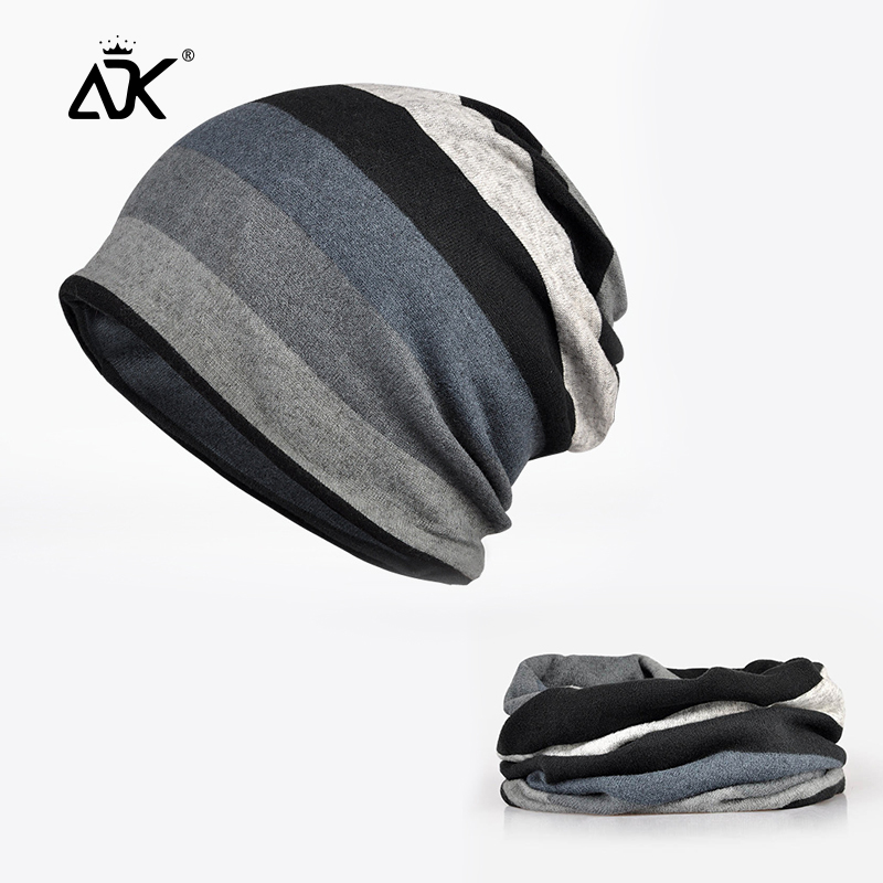 Unisex Beanie Striped Pattern Beanie Breathable Ponytail Design Hats Stretchy Baggy Hats Slouchy Retro Casual Neckerchief Hats