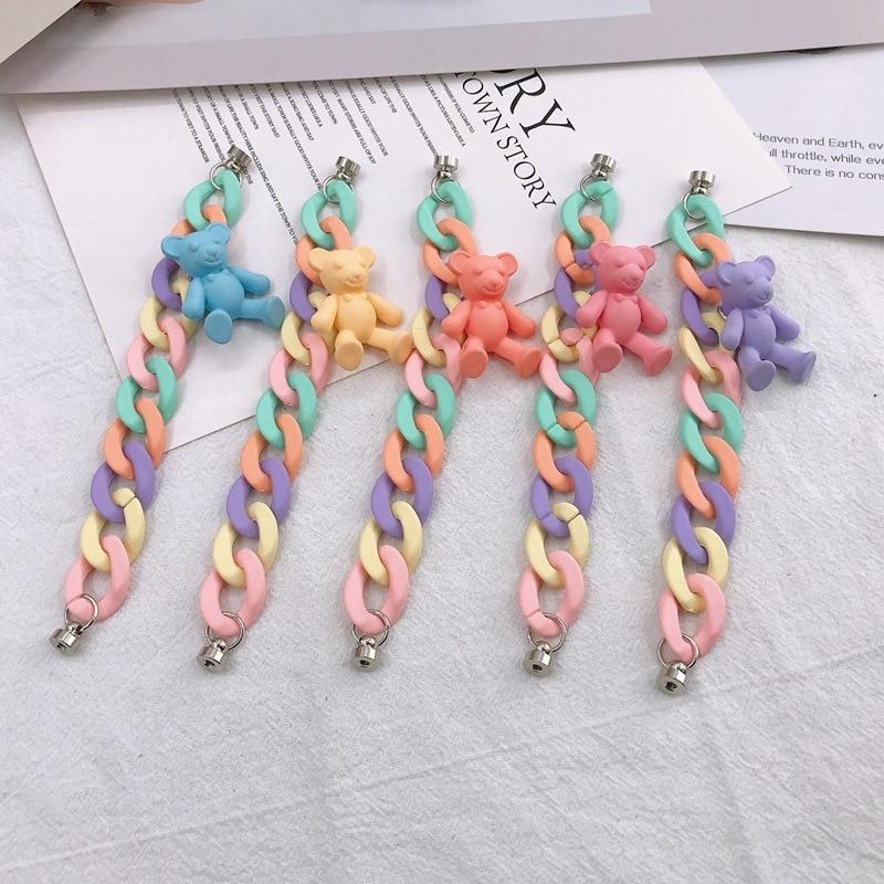 1 pçs pintura a spray doces colorido urso acrílico corrente para diy chaveiro telefone caso decoração jóias acessórios iphone 12 pro