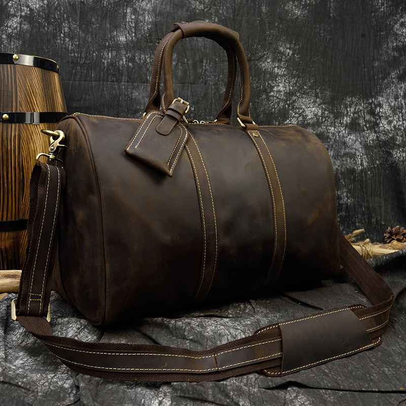 Men Vintage Crazy Horse Leather Travel Bag Big Real Leather Weekend Bag Zip Around Cow Leather Duffle Bag Hand Luggage Bag