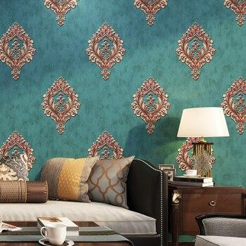 цена на European StyleGood Quality 3D Non-woven Wall Paper Luxury Living Room Bedroom Home TV Background Wall Blue Wallpaper