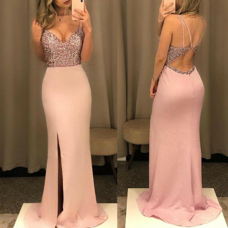 Женское длинное платье макси с блестками, с открытой спиной, для формальной вечеринки, для девушек, бодикон, бальное платье для выпускного в...