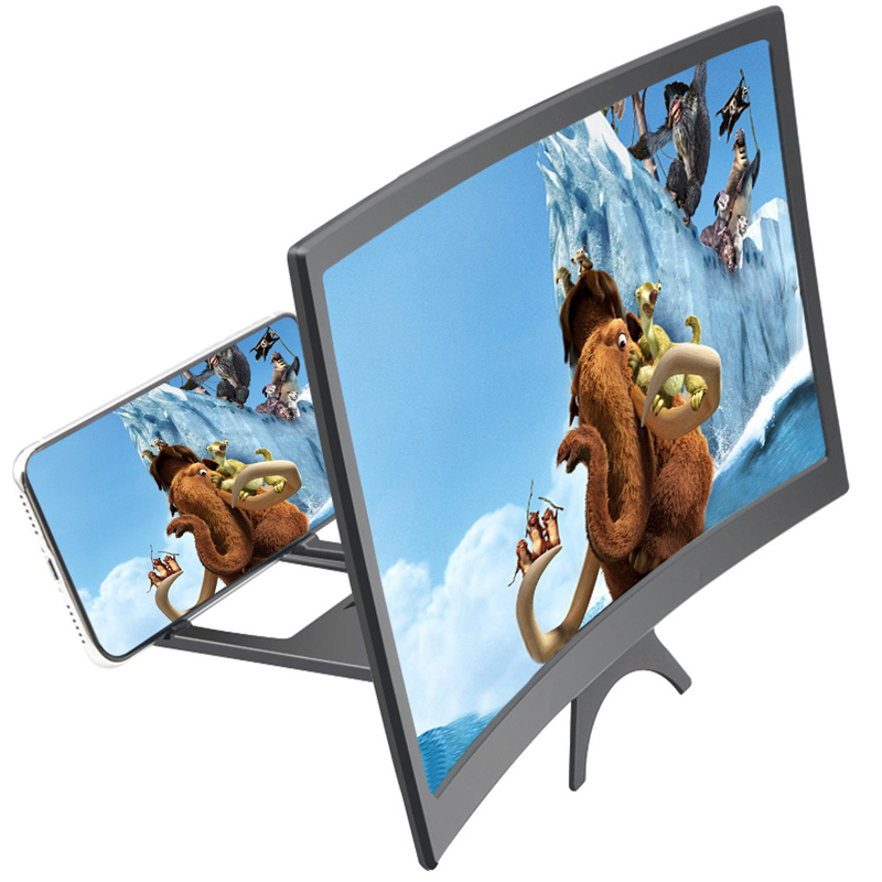 <font><b>12</b></font> inch <font><b>3D</b></font> Mobile Phone Screen Video Magnifier Curved Enlarged Smartphone Movie Amplifying Projector Stand Bracket Party Favors image