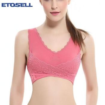 S-4XL Women Underwear  Lingerie Lace Solid Color Front Cross Side Buckle Wireless Push up Breathable Sleep Sports Bra
