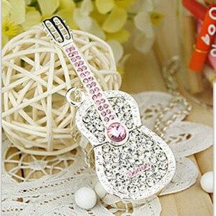Crystal Guitar Jewelry USB Flash Memory Card Stick 128GB 16GB 32GB Memoria Usb 64GB Flash Drive Pendrive 2TB 1TB Gift Pen Drive