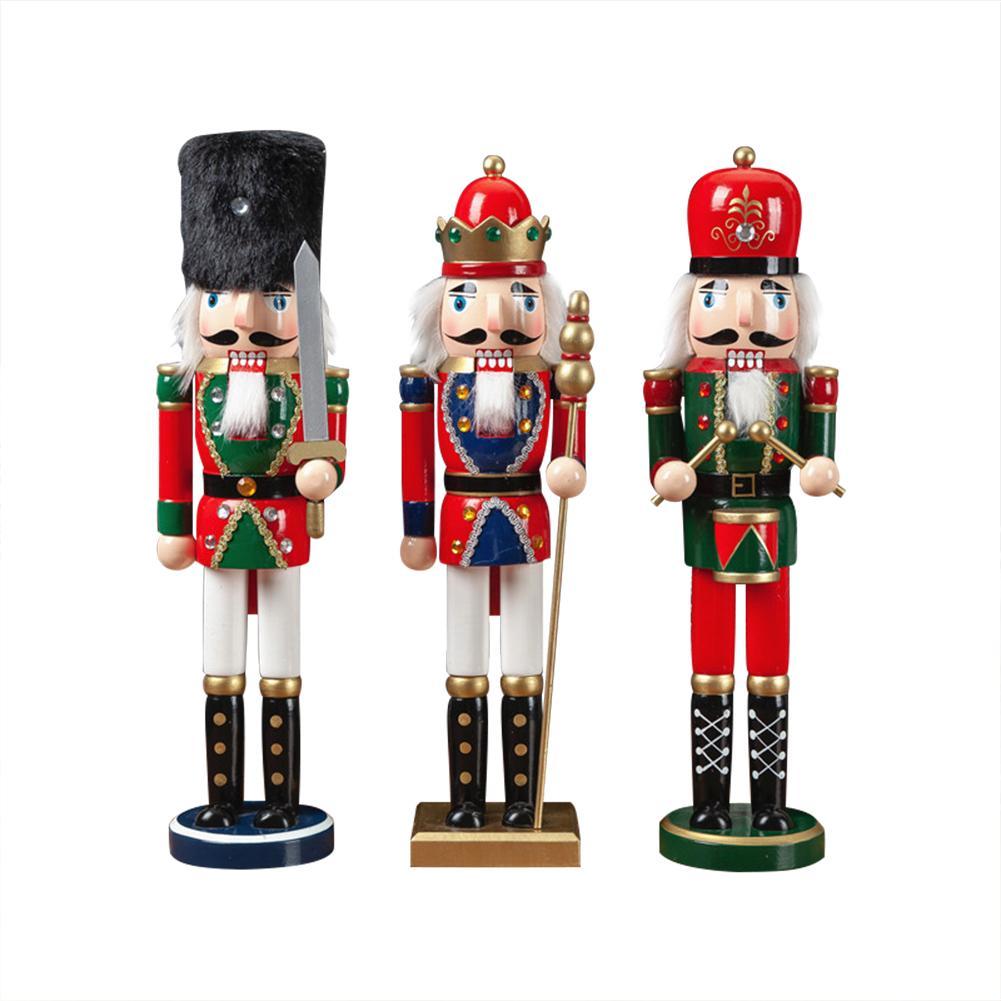 New Year Decor Kids Doll 3PCS 38CM Wooden Nutcracker Soldier Merry Christmas Decoration Pendants Ornaments For Xmas Tree Decor