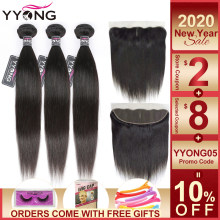 YYong Hair 3 Bundles Brazilian Straight Hair Bundles With Closure Pre Plucked 13*4 Ear To Ear Lace Frontal Closure With Bundles(China)