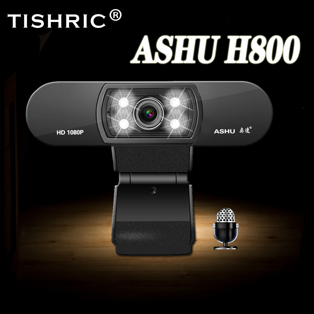 TISHRIC Webcam 1080p ASHU H800 USB 2.0 Web Camera With Microphone With Fill Light For Computer PC Laptop Video Call Win10/OS