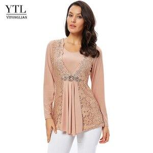 Image 1 - YTL בתוספת גודל נשים חולצה בציר אביב סתיו פרחוני הסרוגה תחרה למעלה כותנה שרוול ארוך טוניקת חולצה חולצה 6XL 7XL 8XL H025