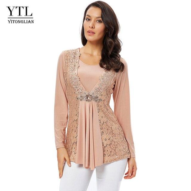 YTL בתוספת גודל נשים חולצה בציר אביב סתיו פרחוני הסרוגה תחרה למעלה כותנה שרוול ארוך טוניקת חולצה חולצה 6XL 7XL 8XL H025