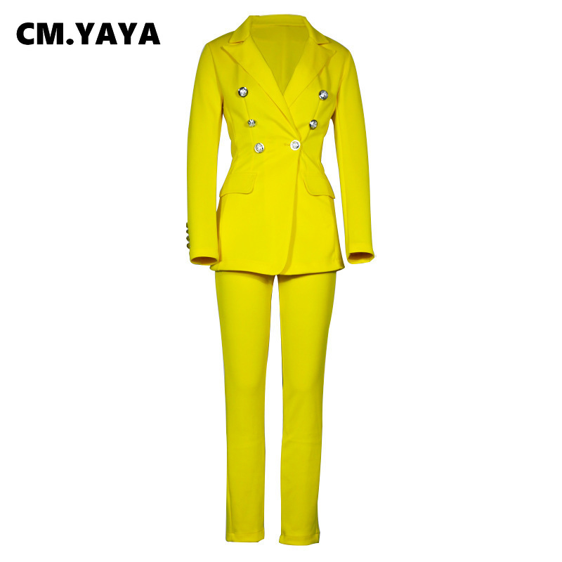 CM.YAYA Autumn Winter Streetwear Women's Set Long Sleeve Blazer Pants Suit Office Lady Tracksuit Two Piece Set Fitness Outfits