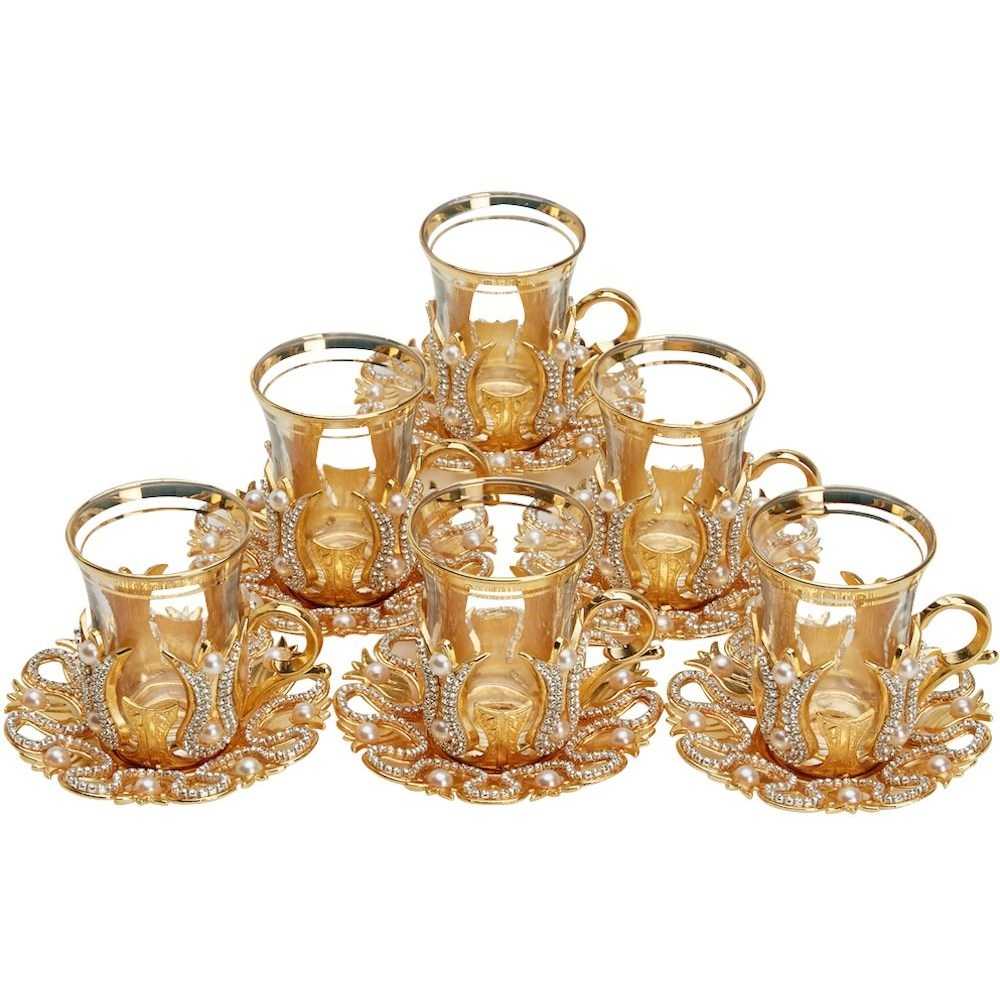 Turkish Tea Glasses Set Of Decorated Type With Swarovski Crystals And Pearl English Arabic Tea Cups Made In Turkey