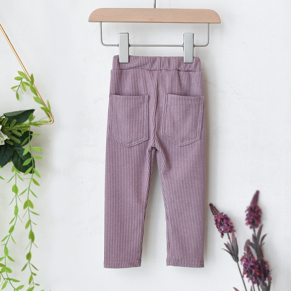 New Boys And Girls Big Pp Pants Trendy Threaded Cotton Thick Pocket Leggings Toddler Casual Baby Outer Wear Pants