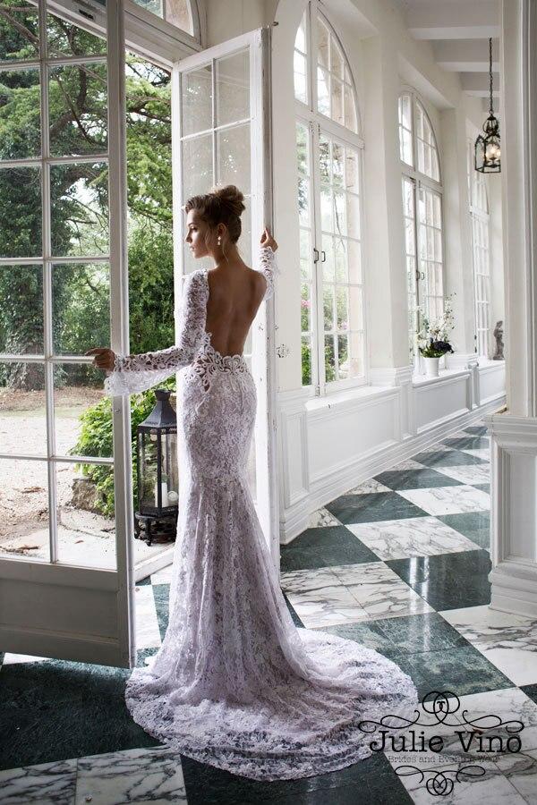 Custom Mermaid Wedding Dresses 2015 Stunning Long Sleeves V Neck Floor Length Court Train Open Back Lace Bridal Gown Sh0040