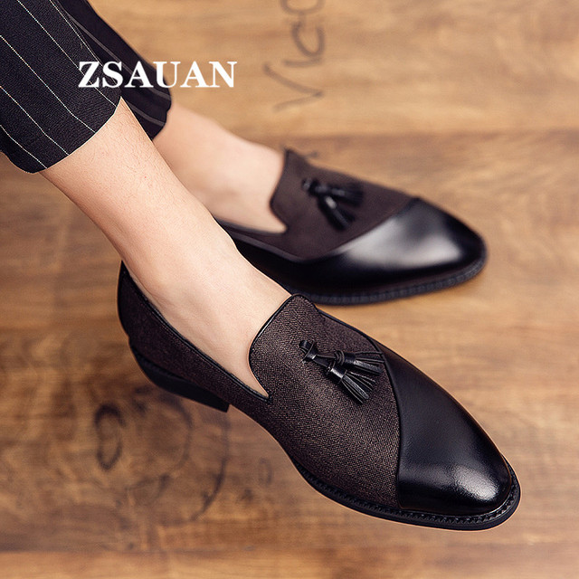 ZSAUAN Semi-formal Hemp PU Leather Men's Suit Shoes Glamorous Blue Tassel Italian Graceful Man Dress Shoes Big Size 46 47 48