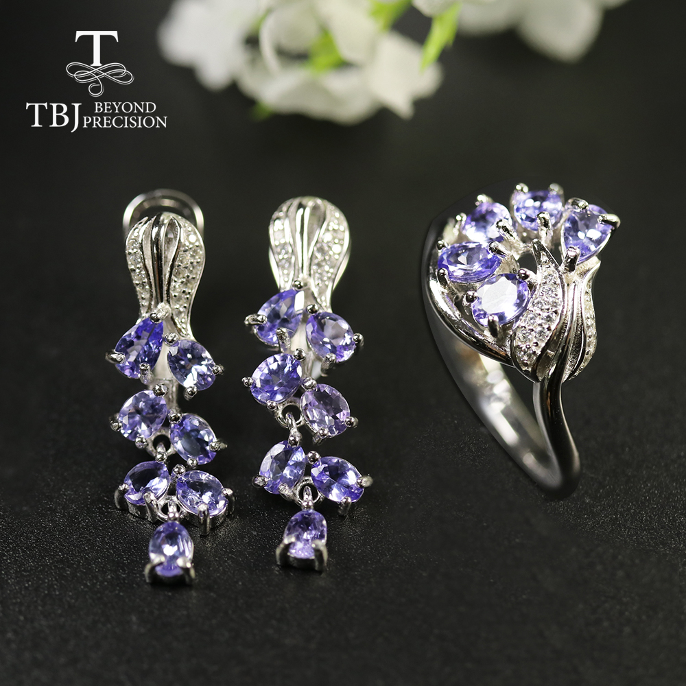 2020 Rose Design Natural Blue tanzanite jewelry set real Gemstone lovely design 925 sterling silver gift to girlfriend tbj