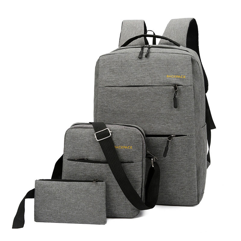 3 Pcs/set USB Charging Canvas Backpack Women  Solid School Backpacks Schoolbag For Teenagers Man Student Book Bag Boys Satchel
