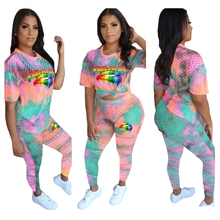 2019 Rainbow Lips Cartoon Printed Two Piece Set Striped Short Sleeve Tee Pants Sweat Suit Sexy Casual Outfits For Women Tie Dye