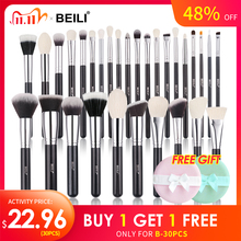 BEILI Schwarz Make Up pinsel set Natürliche ziegenhaar pinsel Foundation Pulver Kontur Lidschatten make up pinsel