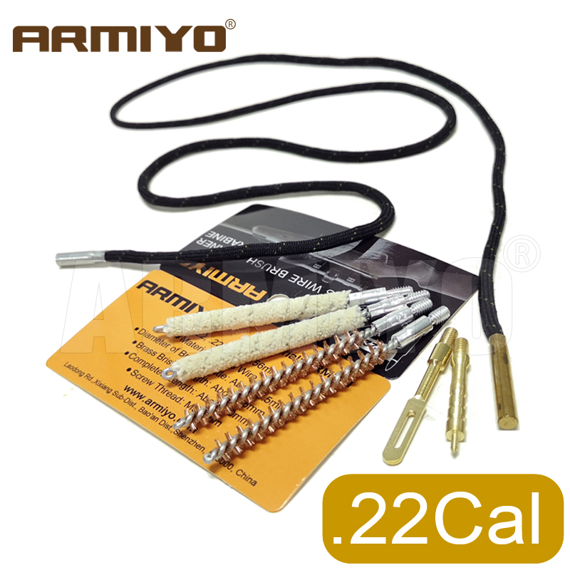 Armiyo .22Cal 5.56mm Gun Brush Kit Cleaning Swabs 6pc/set Brass Carbon Deposits Patch Puller Holder Thread 8-32 Hunt Accessories
