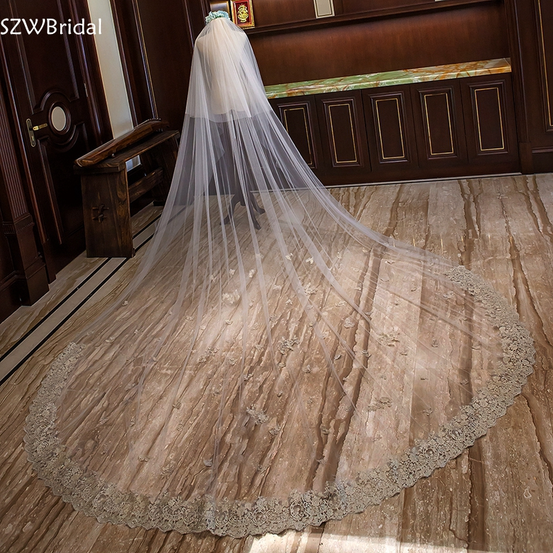 New arrival White Ivory Tulle Wedding accessories Champagne Lace Edge Two Layer Bridal veils Veu de noiva welon slubny
