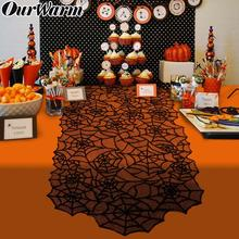 OurWarm 20x80 inch Halloween Spiderweb Table Runner Black Lace Polyester Tablecloth for Decoration