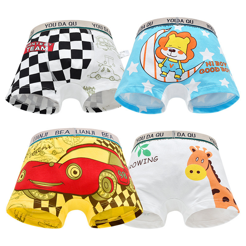 4pcs Boys Underwear Cute Briefs Panties Kids Baby Girls Boxer Briefs Cartoon Wholesale Children Boy Underpants Child Underwears