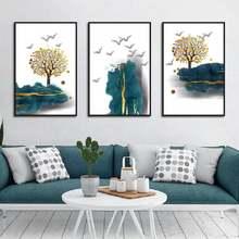 Абстрактный пейзаж холст Постер и печать золотое дерево белая