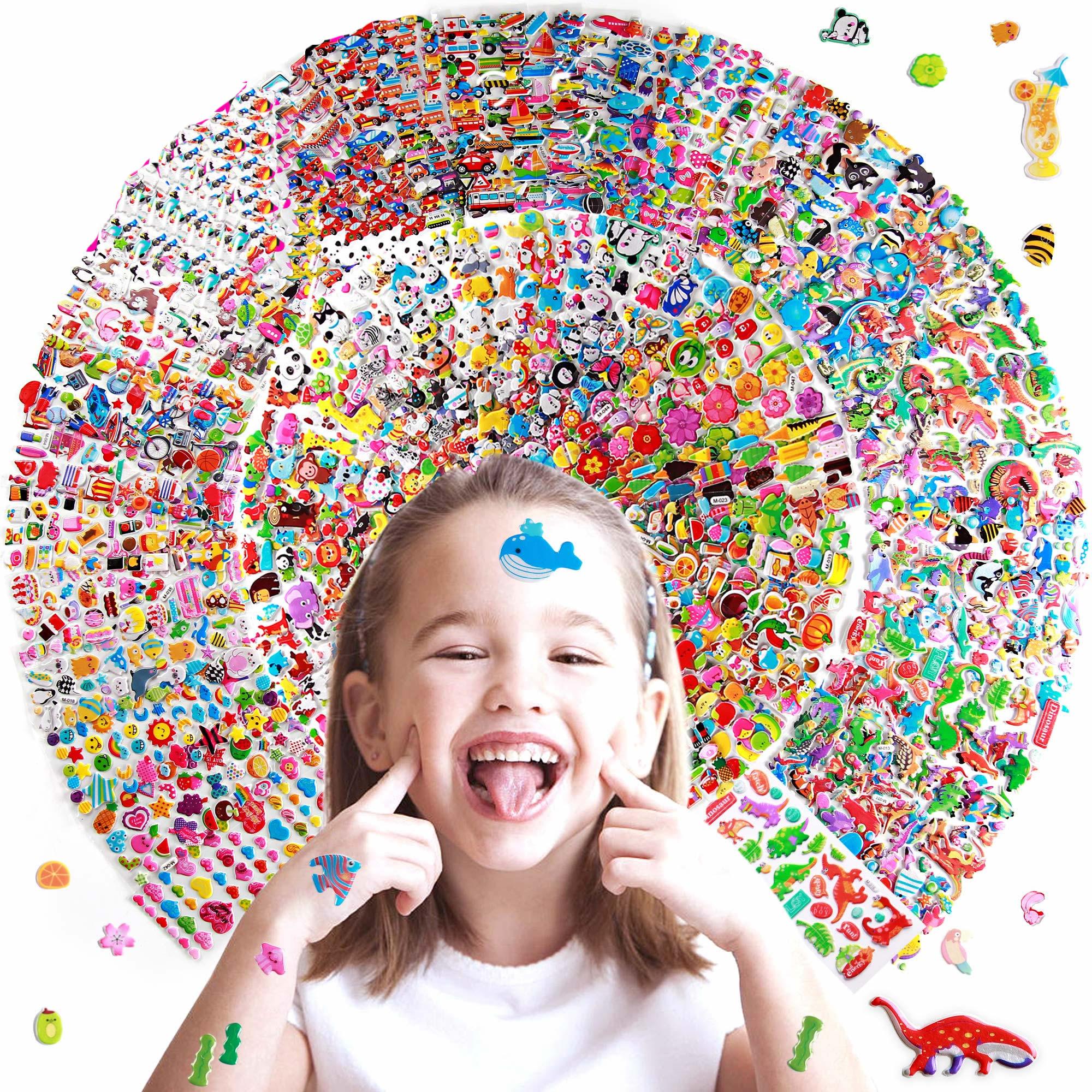 Random Different Cartoon Animals 3D Puffy Bulk Stickers Waterproof PVC Anime Kids Scrapbooking Girl Boy DIY Reward Gift Sticker