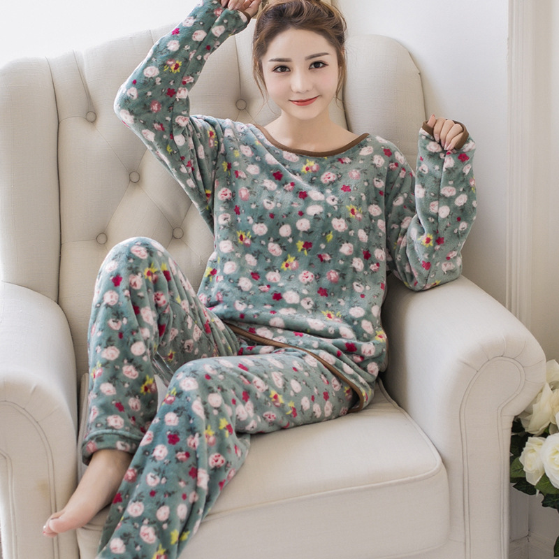 Winter Women Warm Casual Nightdress Sleepwear Pijama Mujer Flannel full-sleeve   Pajamas     Set   Ladies Homewear Pyjamas Women Clothes