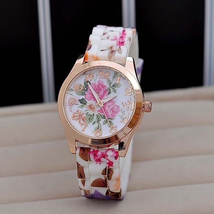 High Quality New Silicon Strap Watch Beautiful Flower Porcelain Design Wristwatch Women Students Girls