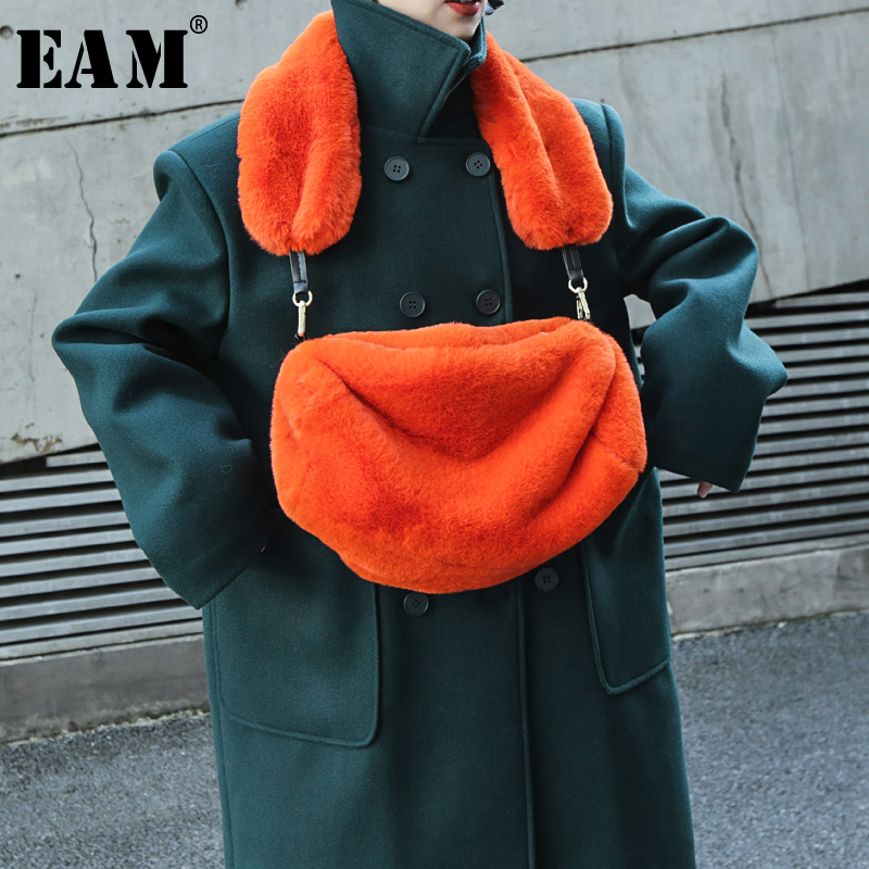 [EAM] Women New Fur Mini-bag Two Ways Wear Orange Personality Accessories Fashion Tide All-match Spring Autumn 2020 19A-a811
