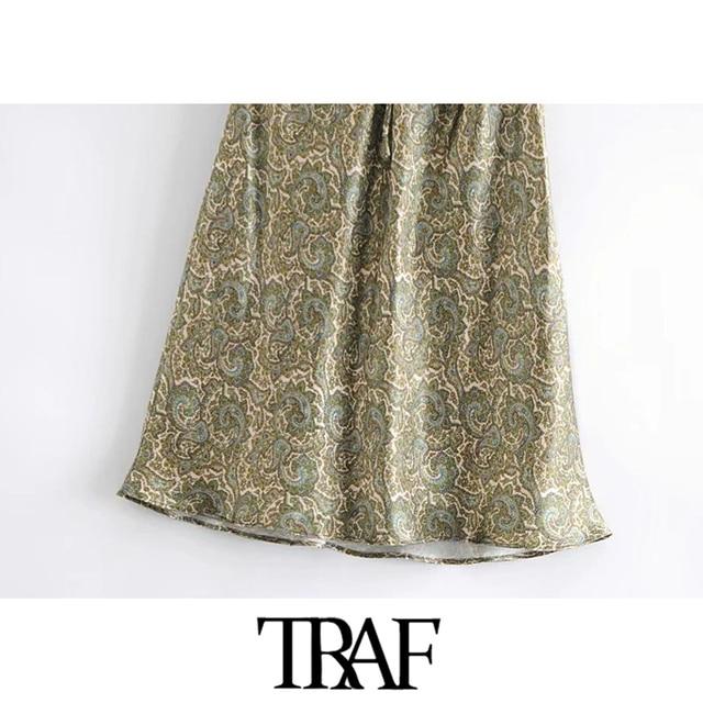 TRAF Women Chic Fashion With Bow Paisley Print Cozy Mini Dress Vintage V Neck Adjustable Straps Female Dresses Mujer 6