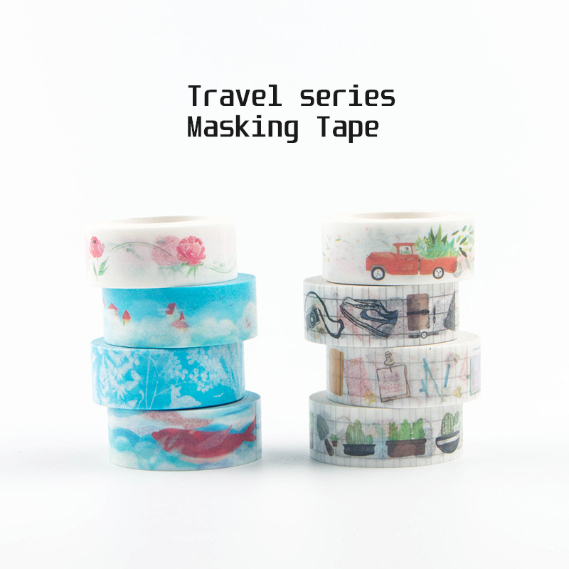 Travel Series Paper Washi Tape Lace 15mm Grid Week Number Memo Stationery Decorative Adhesive Masking Tape Diary Sticker A6347