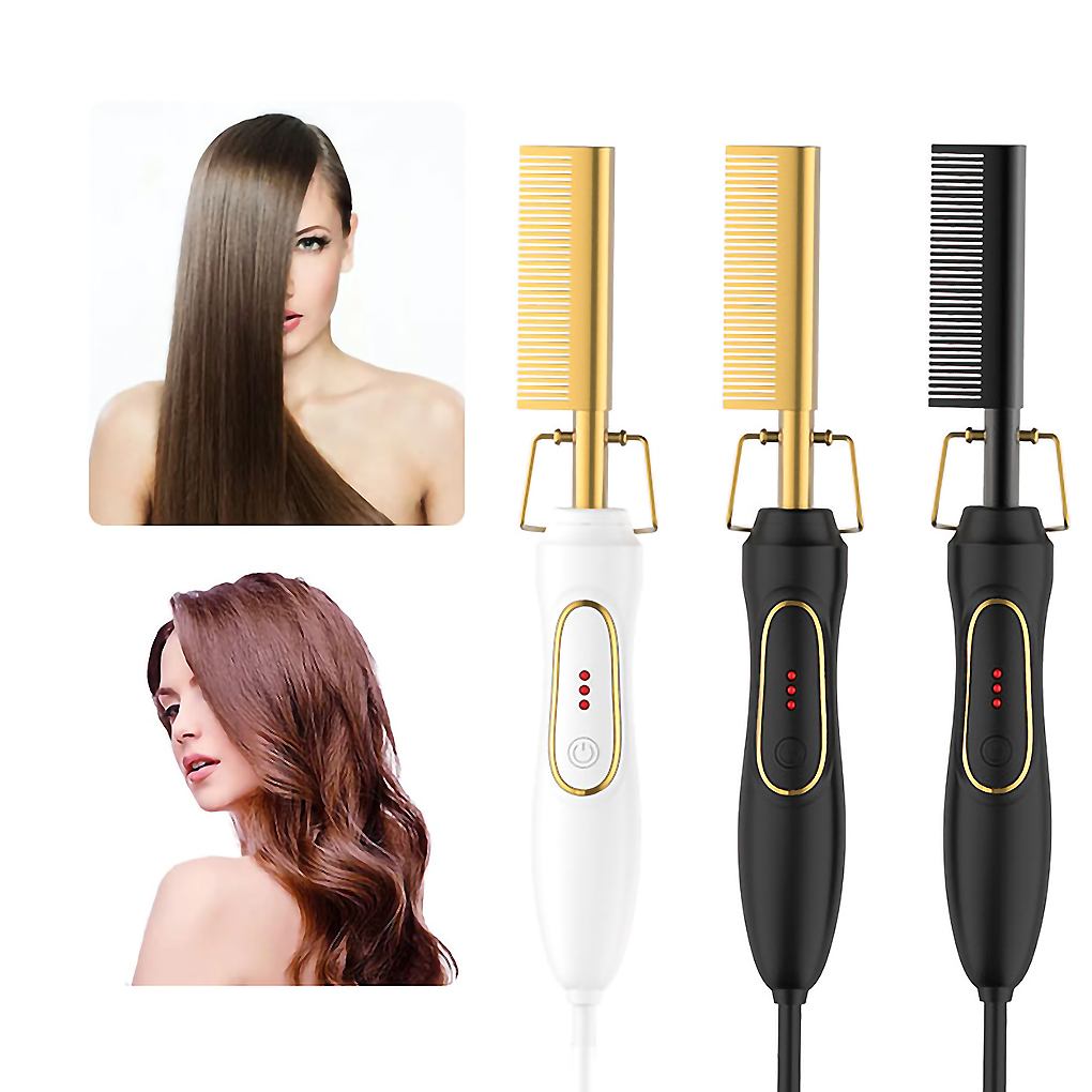 2021 New Hair Straightener Flat Irons Straightening Brush Hot Heating Comb Hair Curling Hair Curler Comb US EU UK Plug