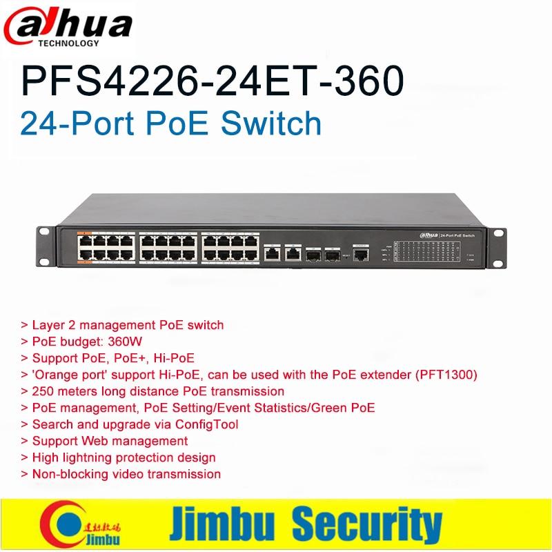 Dahua 24-Port PoE Switch   Model DH-PFS4226-24ET-360  2*10/100/1000 Base-T 2*1000 Base-X  24*10/100 Base-T