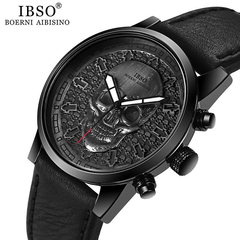 IBSO Brand Skull Quartz Watch For Men 2019 Creative Gothic Sport Quartz Hours Male Wristwatch Clocks Punk Relogios Masculino