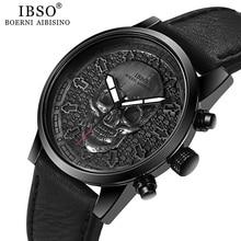 IBSO marka kafatası Quartz saat erkekler için 2020 yaratıcı gotik spor kuvars saatler erkek kol saati saatler Punk relogios masculino