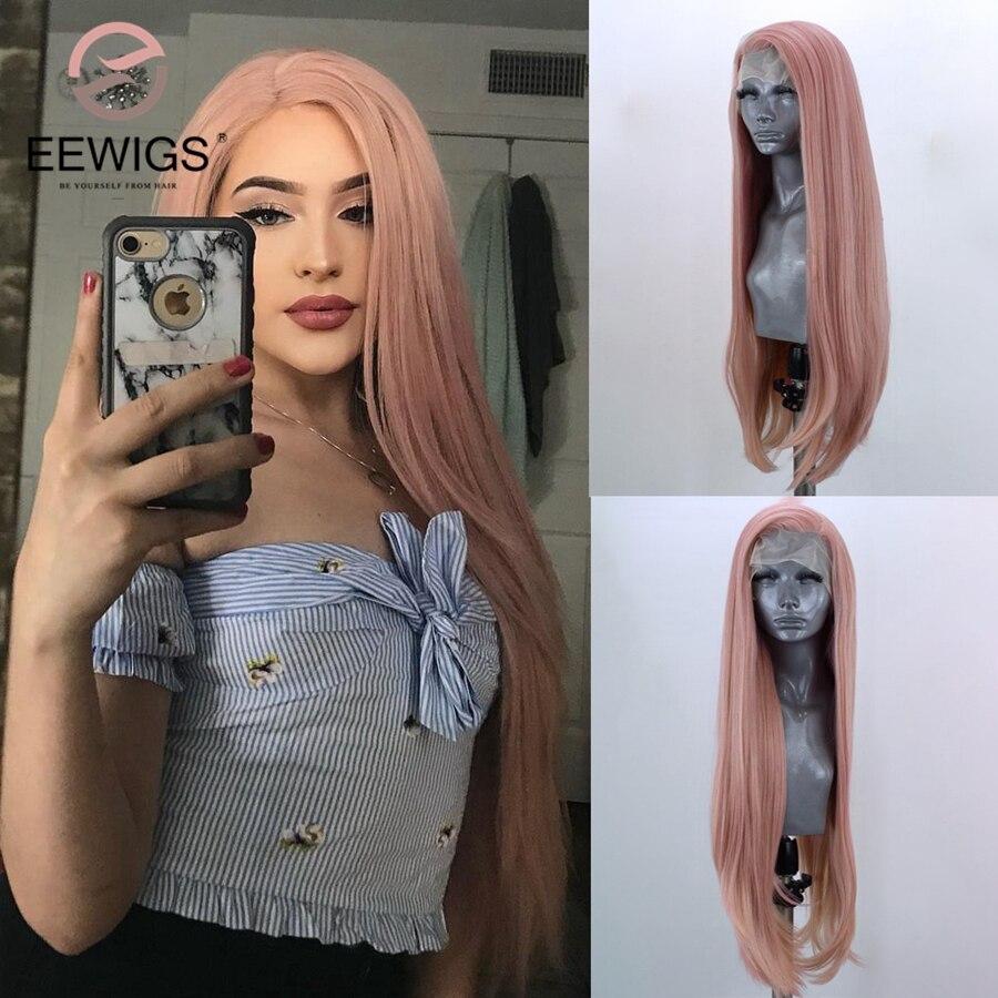 EEWIGS-peluca con malla frontal Lisa para mujer, color verde claro, sin pegamento, resistente al calor, peluca de pelo sintético, parte media, Cosplay blanco